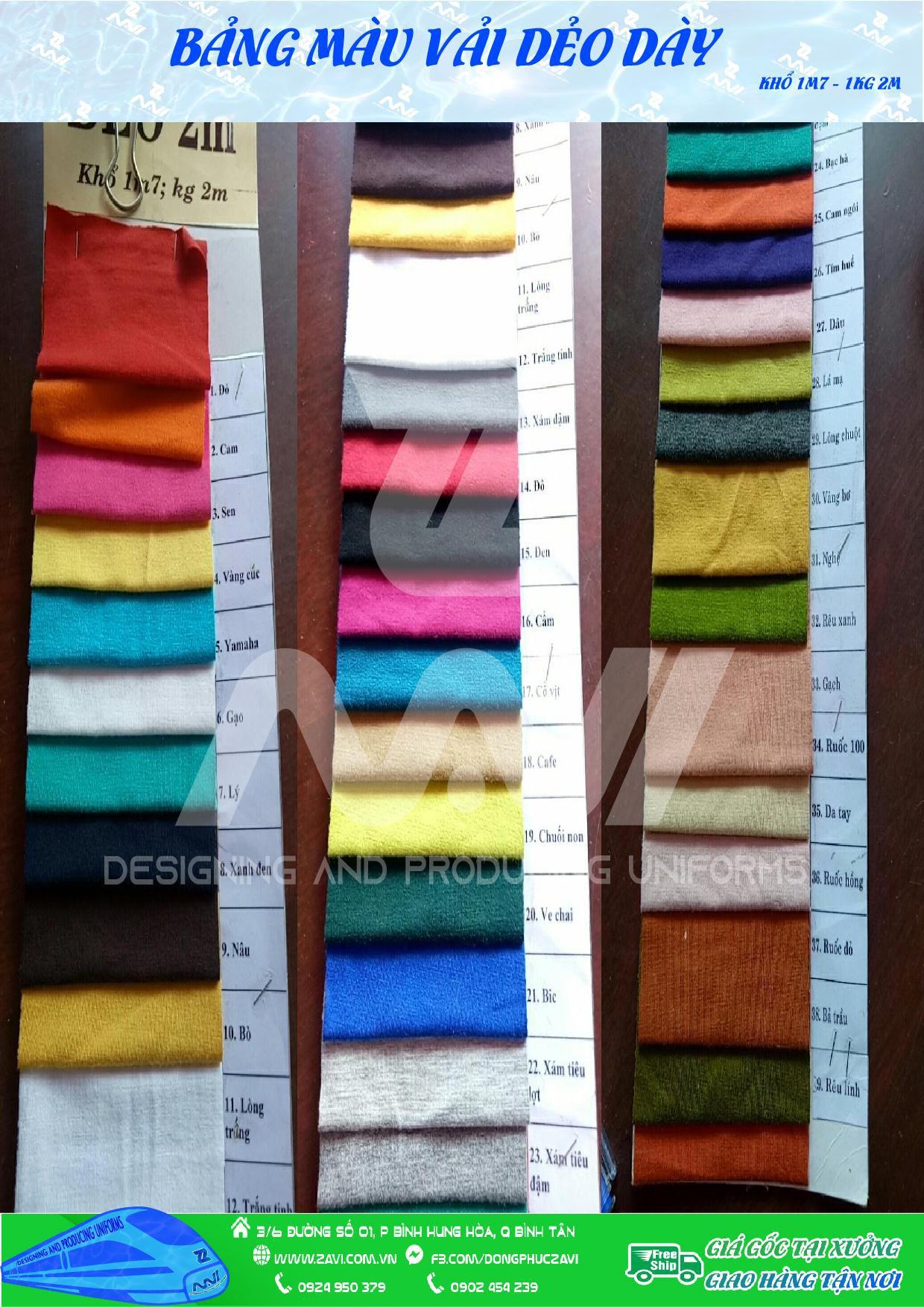 mẫu màu vải